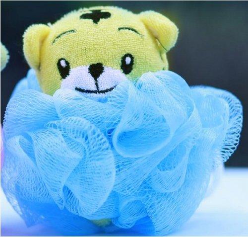 Umiwe (TM) New Kids Toy Tiger jaune en forme de baignoire Mesh Pouf éponge laveur Bath bille bleu Avec Umiwe accessoire Peeler