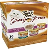 Fancy Feast Gravy Lovers Poultry & Beef Feast Variety Cat Food 30-3 oz. Cans [Contains: 10 each: Turkey Feast, Chicken Feast, and Beef Feast]