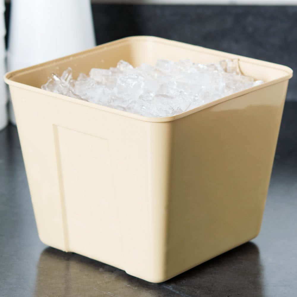 3 Qt. Beige Square Plastic Ice Bucket By TableTop King