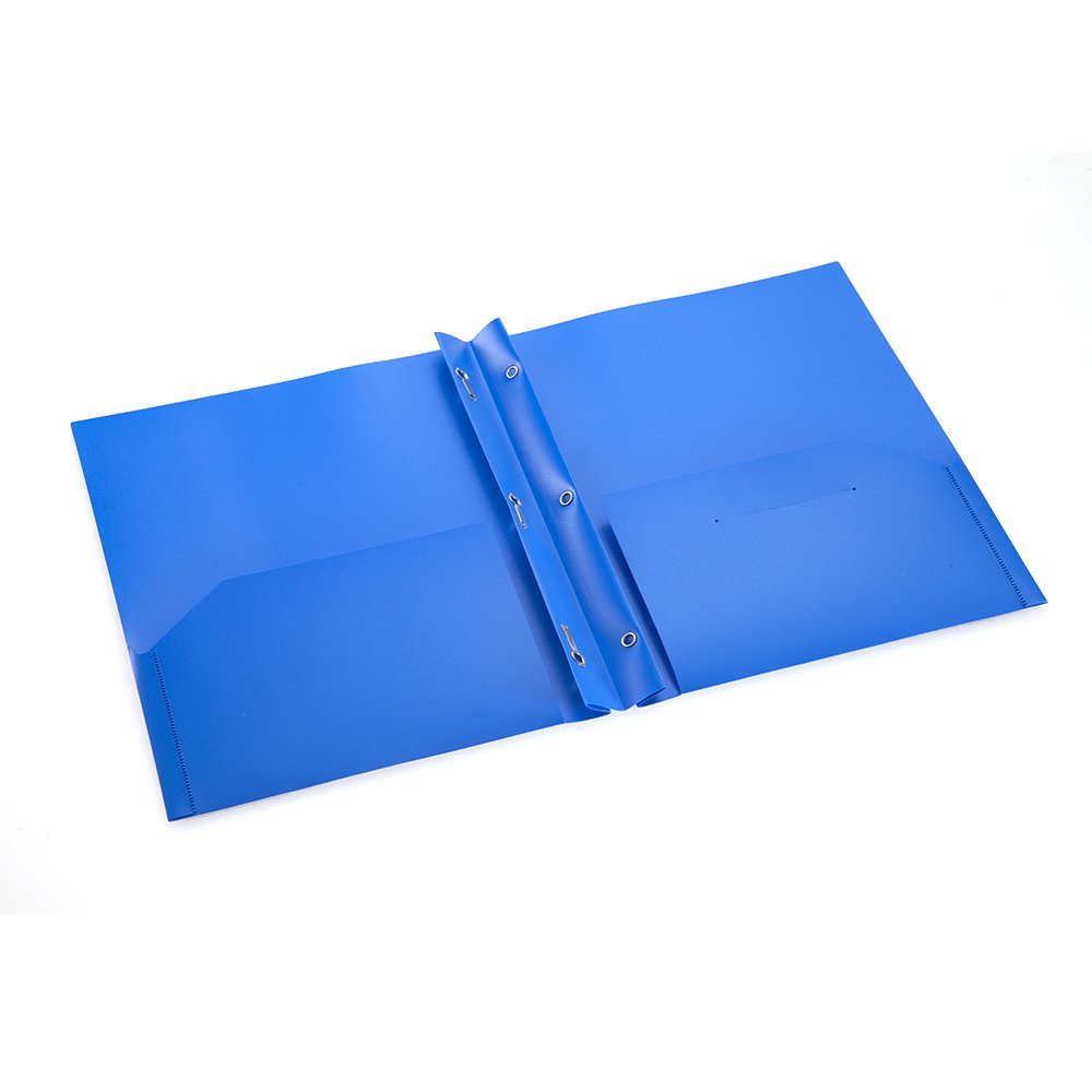 COMIX 2 Pocket Letter Size Poly File Portfolio Folder with Three-Prong Fastners - 12 Pieces (Blue) A2139BU by Comix (Image #4)