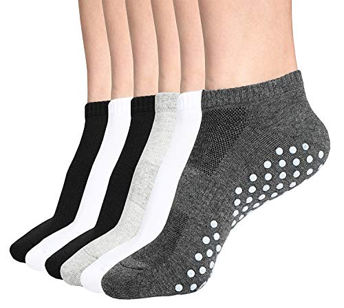 Grip Socks, 6 Pairs Non Slip Anti Skid Socks for Yoga,Pilates,Barre,Dance,Trampoline, Fitness for Unisex