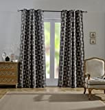 MYSKY HOME Water Oil Dust Proof Thermal Insulated Home Luxury Fashion Soft Jacquard Blackout Curtain for Living Room, 54 by 95 inch, Grey (1 Panel)