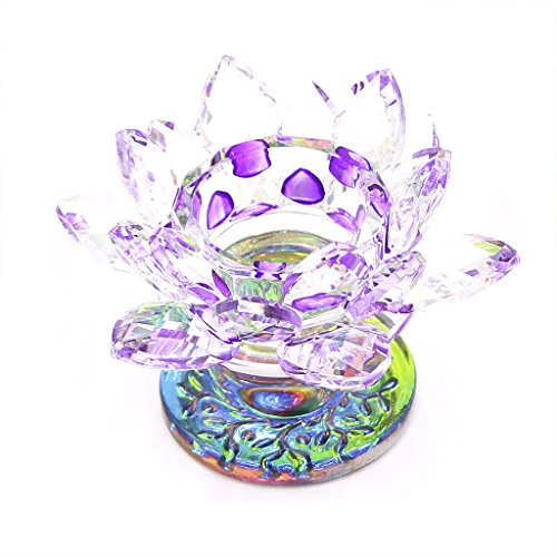 """Fvstar Crystal Candle Holder Lotus Flower Tealight Candlestick with Gifts Boxes Fits for 1.5""""to 1.8 """"Candle Father's Day Party Decor (Purple)"""