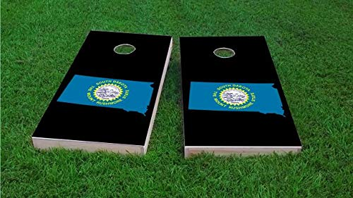South Dakota State Flag Outline (Black) Cornhole Boards (25% Lighter 1x4 Frame), Wood, Handmade, Includes Corn Filled Bags + A Carrying Case The Boards + Cornhole Board Lights (Choose Color)