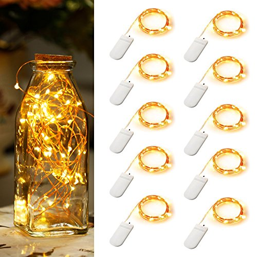 MZD8391 10 Pack Fairy String Lights Battery Operated Waterproof, MZD8391 Twinkling 20 LED String Lights 6.6 FT Copper Wire Firefly Lights for Bedroom Wedding Festival Decor (Warm White)