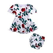 Maymeimei Baby Girls Dress Newborn Toddler Kids Floral Back Hole Dress + Baby Bloomers Outfits Sundress (White) (12-18 Months)