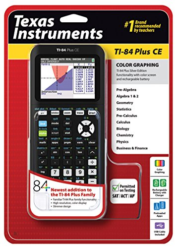 Texas Instruments TI-84 Plus CE Graphing Calculator, Black by Texas Instruments