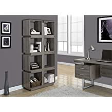 """Monarch Specialties I 7078 Dark Taupe Reclaimed-Look Bookcase, 71"""""""