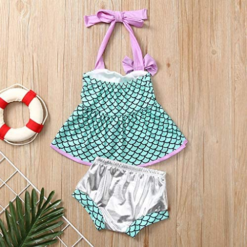 2pcs Outfit 1-6 Years Baby Swimsuit Toddler Swimwear Bikini Little Kids Girl Mermaid Halter Crops Tops Shorts Set