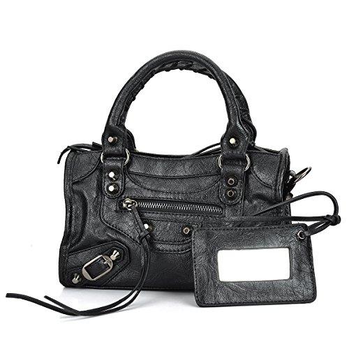 Classic Black Motorcycle Handbags for Women Black Studed City Bags (24cm-Mini ()