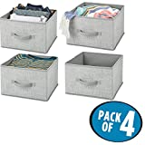 mDesign Soft Fabric Closet Storage Organizer Holder Box - Open Top, Attached Front Handle, for Closet, Bedroom, Bathroom, Entryway, Office - 7.8'' high - Pack of 4, Classic Textured Print in Gray