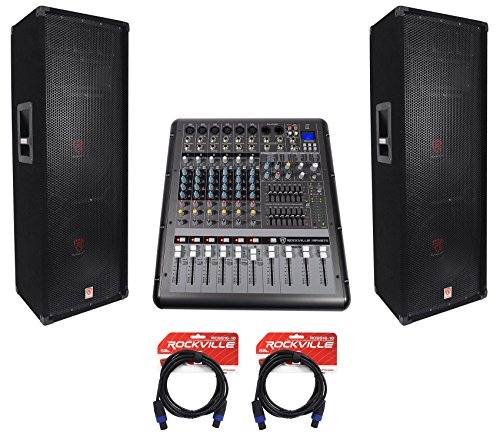 2 Rockville RSG12.24 Dual 12 2000w 3-Way DJ/Pro PA Speakers+Powered Mixer w/USB