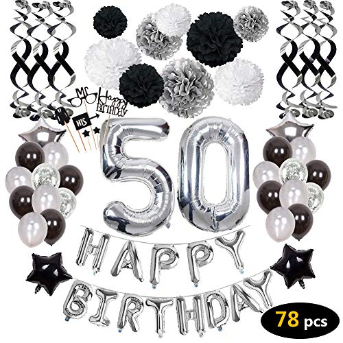 (50th Birthday Decorations,50th Birthday Party Supplies include 78Pcs Silver Number 50 Balloons Banners Hanging Swirls Paper Pompoms Pentagram Balloons Multicolored Balloons Balloon Straw Color Ribbon Cake Flags for Girls Boys)