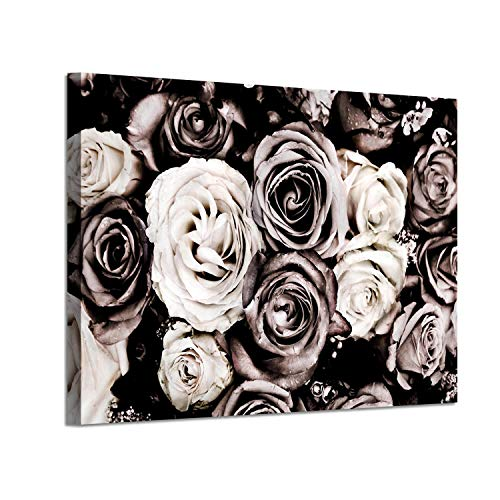 (Floral Artwork Picture Botanical Art: Roses Bouquet Graphic Art Print on Canvas)