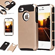 iPhone 4S Case,iPhone 4 Case,LUOLNH Hybrid High Impact Heavy Duty Dual Layer Hard PC Outer Shell with Soft Rubber Inner Armor Defender Case Cover for Apple iPhone 4/4S Case (Gold/Black)