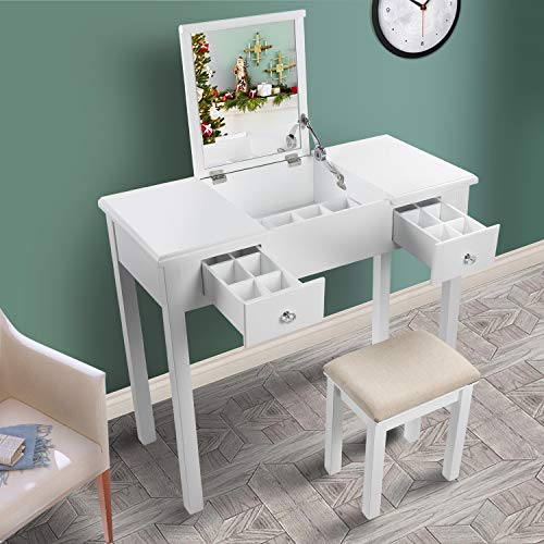 ENSTVER Vanity Beauty Station,Flip Top Mirror,3 Organization 2 Drawers Makeup Dress Table with Cushioned Stool Set - White