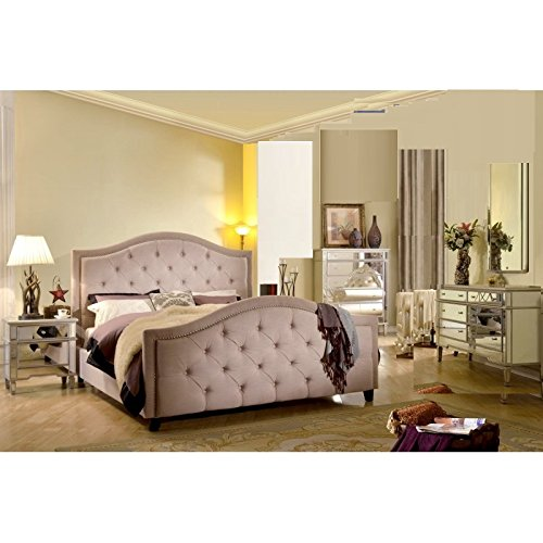 Lovely Classic Beautiful Bedroom FRA2011 Eastern King Size Bed Dresser Mirror Nightstand Formal Beige Pearl Champagne Color Nailhead Headboard FB