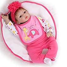 SanyDoll Reborn Baby Doll Soft Silicone 22inch 55cm Magnetic Lovely Lifelike Cute Lovely Pink Head Flower Baby Doll