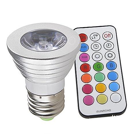 enjoydeal 3w e27 85 265v rgb led bulb lamp spot light multicolor remote control - Spot Led Multicolore
