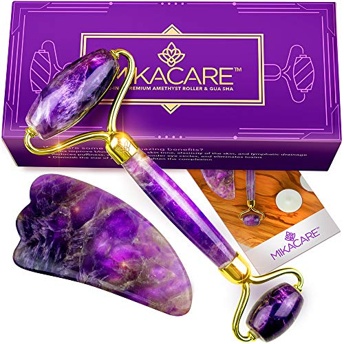 Amethyst Roller and Gua Sha - Jade Roller and Rose Quartz Roller Alternative - Facial Toner and Massager by Mikacare 2-in-1