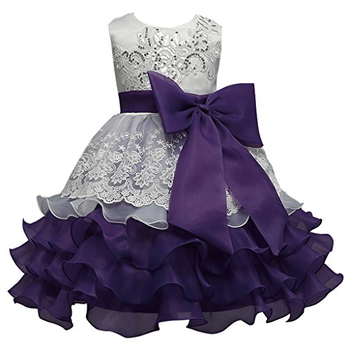 FantastCostumes Girls Vintage Ruffles Flower Wedding Dress(Purple, 3T)