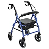 Health Line Aluminum Folding Mobility Rollator Walker with 8 Inch Wheels for Seniors, Paded Seat and Backrest, Blue