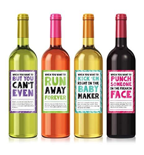 Cheer Up Wine Label Set (Bottle Labels Wine Funny)