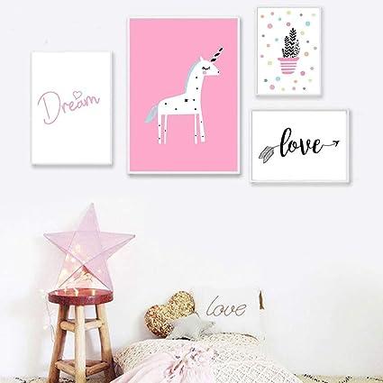 Unicorn Poster Wall Art Print Nursery Picture Unframed Pink Girls Room