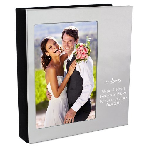 Personalized Engraved Silver Swirl Photo Album - Weddings, Civil Partnership, Christmas, (Engraved Wedding Photo Album)