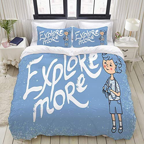 VAMIX Duvet Cover Set, Cartoon Boy with Binoculars on Grunge Style Background Childhood Theme, Decorative 3 Piece Bedding Set with 2 Pillow Shams, Full Size