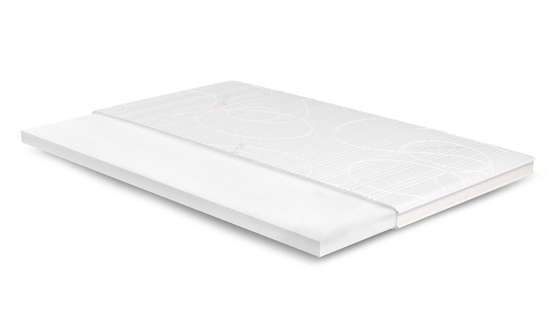 7cm Kaltschaum Topper 130x190 cm - Aloe Vera Bezug mit 3D-Mesh-Klimaband & Stegkante - 5cm HR Kaltschaum RG 45 - Matratzenauflage 130x190 für Ihr Bett