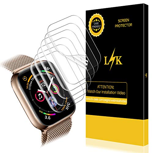 LK [6 Pack] Screen Protector for Apple Watch 44mm / 42mm (Series 4/3/2/1 Compatible), LiquidSkin Max Coverage Screen Protector [HD Clear Anti-Bubble Film] with Lifetime Replacement Warranty