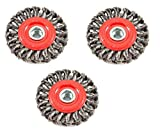Forney 72759 Wire Wheel Brush, Twist Knot with 5/8-Inch-11 Threaded Arbor, 4-Inch-by-.020-Inch, 3 Pack (3 Pack)