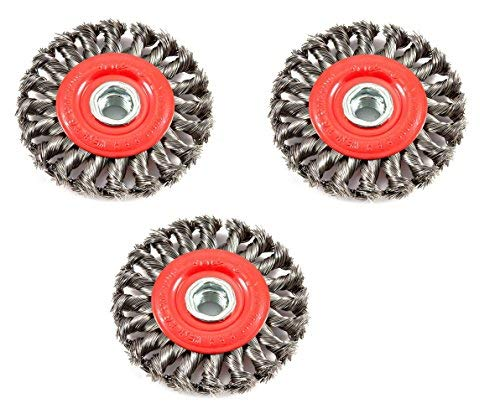Forney 72759 Wire Wheel Brush, Twist Knot with 5/8-Inch-11 Threaded Arbor, 4-Inch-by-.020-Inch, 3 Pack (3 Pack) ()