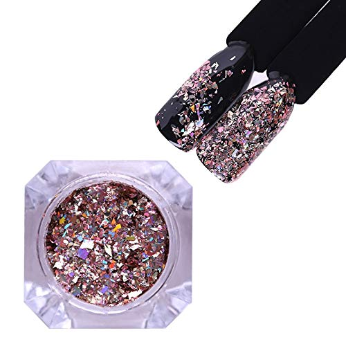 SaveStore 1 Box Nail Glitter Holographic Holo Flakies Sequins Paillette Nail Powder Rose Gold Manicure DIY Nail Art Decoration