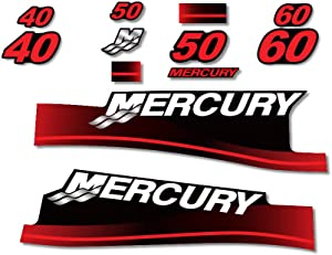 AMR Racing Outboard Engine Graphics Kit Sticker Decal Compatible with Mercury 40 50 60 - Red