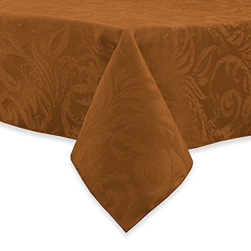- Autumn Scroll Damask Tablecloth (70 Inches, Bronze Color) Round Seats 4 to 6 People
