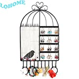 LOHOME Wall Mount Jewelry Organizer, Birdcage Shape Hanging Earring Holder Necklace Jewellry Display Stand Rack Shelf for Earrings / Necklaces / Bracelets (Black)