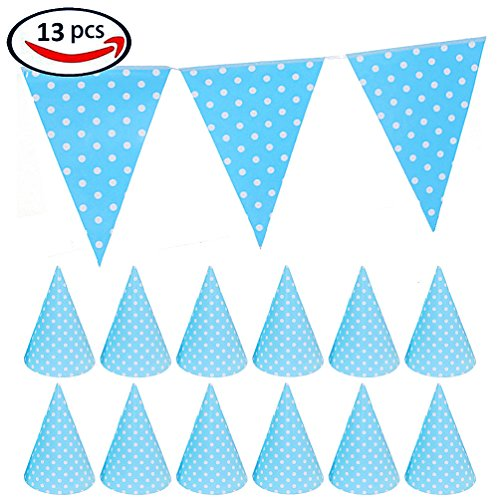 KIYOOMY Blue Polka Dot Party Hats and Party Triangle Flag Banner for Party (12ct Paper Hats, 1 Triangle (Polka Dot Party Hat)