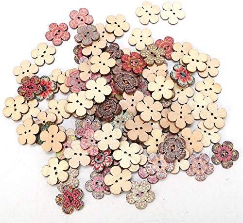 Gancon 100PCS 20ミリメートルヨーロッパスタイルの装飾的な花の形の木製ボタンDIYアクセサリー