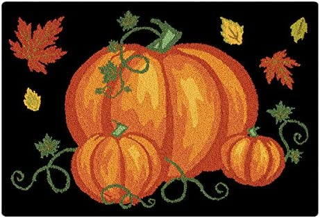 C F Home Pumpkin Patch Halloween Hooked Rug, 2 x 3 , Black