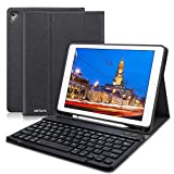 HOTLIFE iPad Keyboard Case 9.7 for iPad 2018 (6th Gen), iPad 2017 (5th Gen), iPad Air 2/Air, Ultra-Thin Slim Detachable Protective Cover iPad Keyboard Case with Pencil Holder (Black)