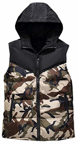 today-UK Mens Hooded Sleeveless Camouflage Puffer Quilted Down Vest 2