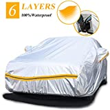 "Autsop Car Cover Waterproof All Weather,6 Layer Car Cover for Automobiles Outdoor Full Cover Hail UV Protection with Zipper, Universal A3-3XXL(Fits Sedan 194"" to 208"")"