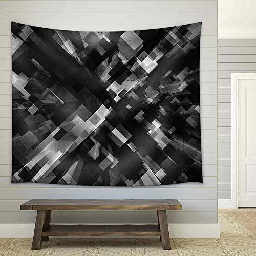 Black Cubes Perspective Pattern Pattern and Old Concrete Texture Fabric Wall