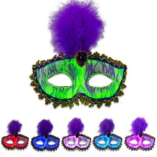 Light Up Masquerade Mask - LED Women's Costume Mask, Fiber Optic Luminous Eye Mask USB Rechargeable with 7 Color Settings & 4 Flashing Mode Optional