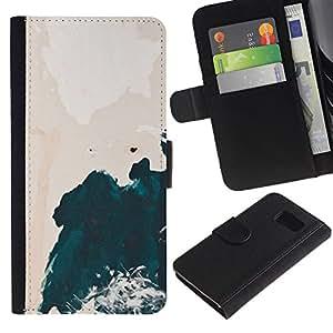Paccase / Billetera de Cuero Caso del tirón Titular de la tarjeta Carcasa Funda para - Watercolor Cliff Waves Shore - Samsung Galaxy S6 SM-G920