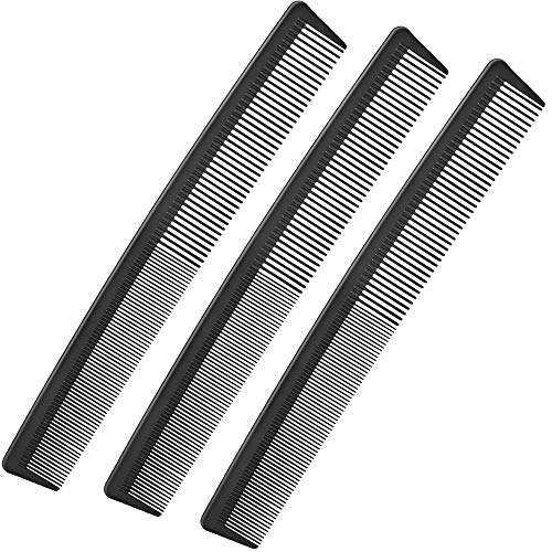 3 Pack Black Carbon Barber Fiber Cutting Comb,Fine Tooth Hair Comb,Hairdressing Styling Combs,Heat Resistant Combs,Styling Combs for Salon (Style G)