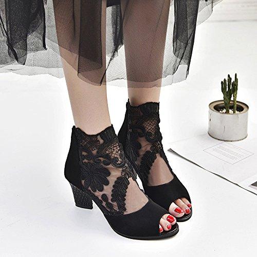 Alon Talons Soirée Noir Mariage Chaussures Sandales Bout Sunenjoy Pour Hauts Dentelle Ouvert Zipper De Femmes Fête Carré 7cm nq40ZwHTAw