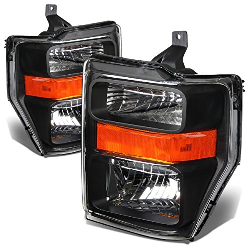 For Ford Super Duty 2nd Gen F250-550 Pair OE Style Black Housing Amber Corner Headlight ()